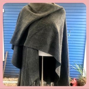 Gray Flannel Wool Blend Cape Shawl Wrap By V.Fraas